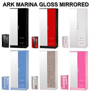 Marina-High-Gloss-2-Door-2-Drawer-Mirrored-Wardrobe-Range-of-Colours-Available