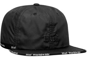 Huf Worldwide Skateboard 6 Panel Cap Camp Snapback Dad Hat Midtown Black