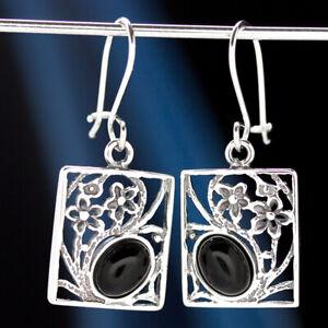 Onyx-Silber-925-Ohrringe-Damen-Schmuck-Sterlingsilber-H0573