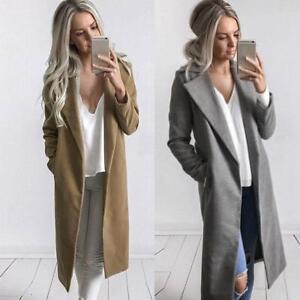 dcb3099b77f8 Women's Winter Warm Long Wool Coat Lapel Parka Jacket Cardigan ...