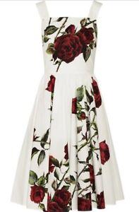 Dolce-amp-Gabbana-White-Red-Rose-Print-Poplin-Tank-Dress-Size-44