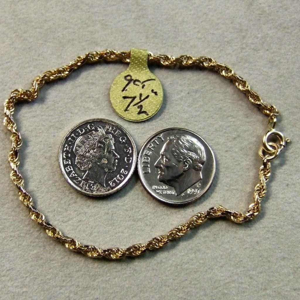 9 CT oro di seconda seconda seconda mano braccialetto catena di Fantasia 3d9968