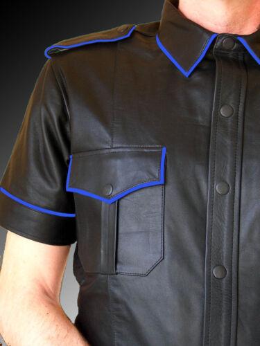 Mens Hot Genuine Real Black Sheep//Lamb LEATHER Police Uniform Shirt BLUF Gay