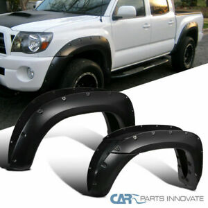 For 05-11 Toyata Tacoma 6' Bed Pickup Rivet Style Pocket Black Fender Flares 4PC