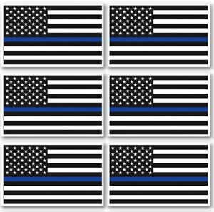"""3x5"""" Thin Blue Line Flag Sticker USA American Police Lives Matter Decal 6 Pack"""