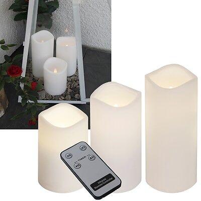 "3er Set LED Kerzen ""In & Outdoor"" Fernbedienung & Timer / flackernd flammenlose"