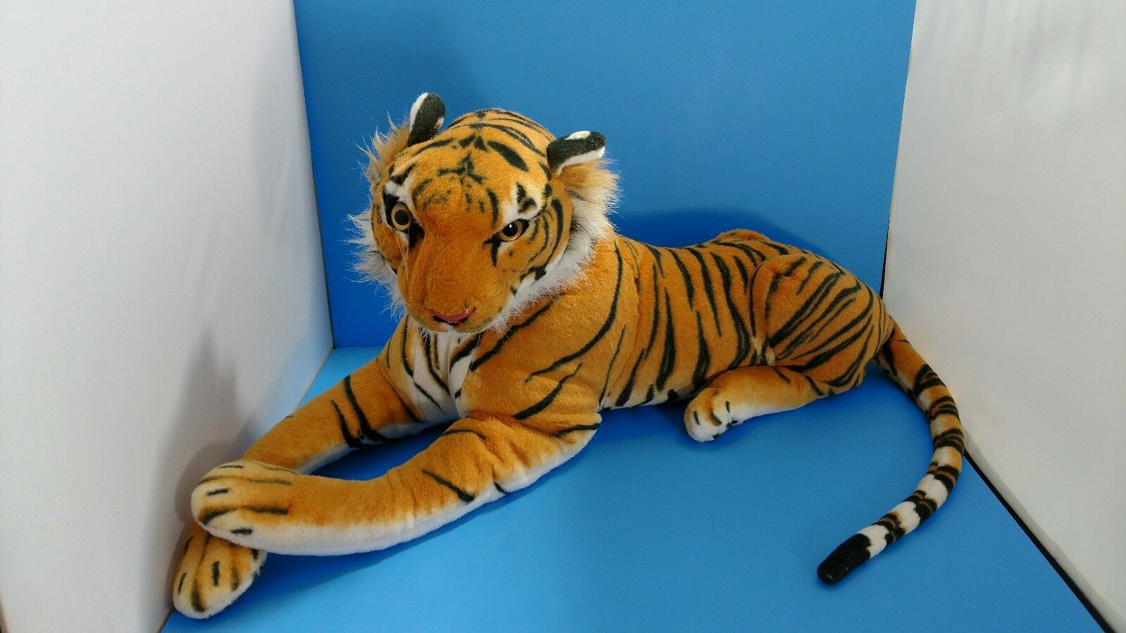 LARGE 28  Laying Striped Bengal Tiger Best Made Toys Stuffed Plush *REALISTIC*