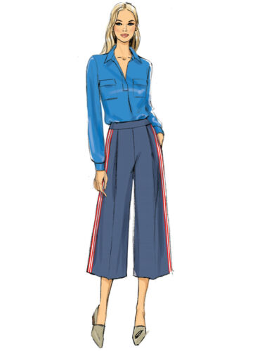 VOGUE SEWING PATTERN 9302 MISSES SZ 6-22 VERY EASY SEMI-FITTED CULOTTES PANTS