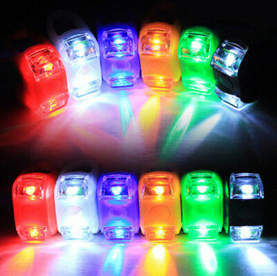 NEW LED Silicone Mountain Bike Bicycle Head Front Rear Wheel Flash Light Lamp