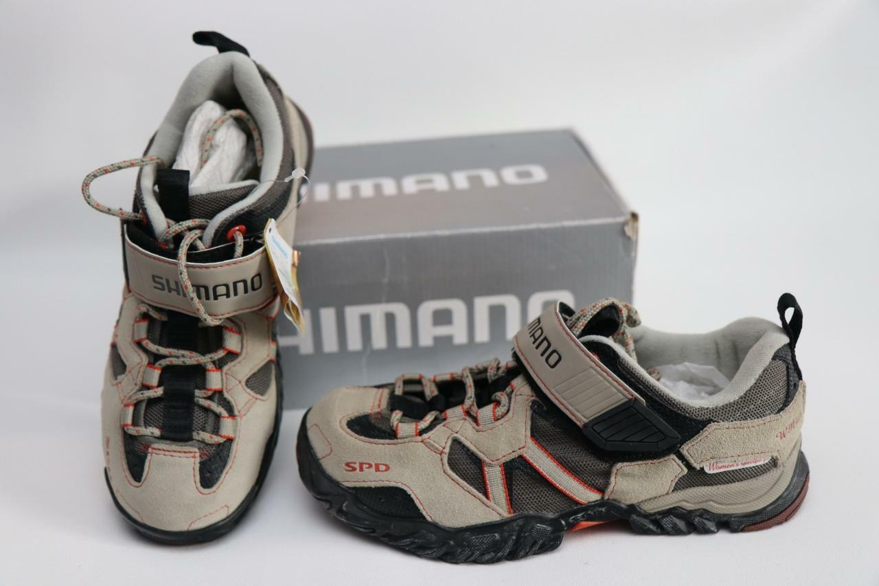 New Shimano Women's SH-WM40 MTB Mountain Bike shoes Beige SPD 2 Bolt