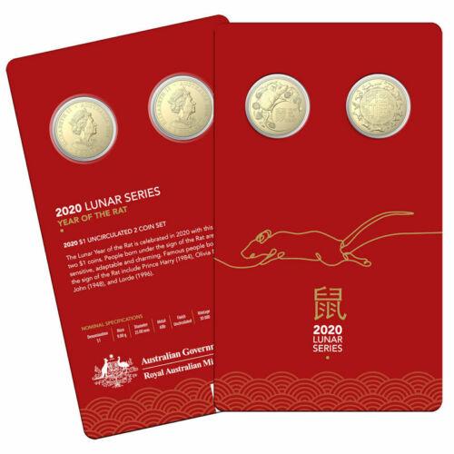 "2020 Australia 2 x $1 BU Coin Set /""Lunar Year of the Rat/"" 2-Coin Set"