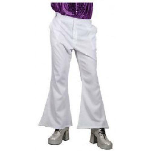 WHITE ADULT COSTUME FANCY DRESS UP PARTY 70S DISCO FLARES