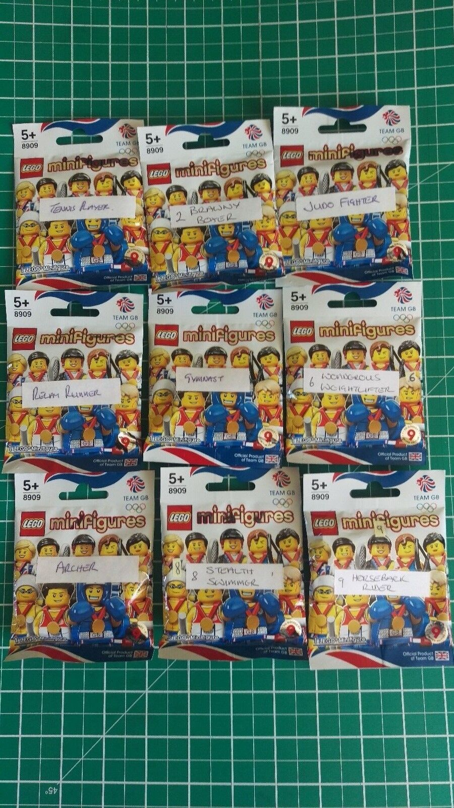 LEGO 8909  TEAM GB OLYMPIC MINIFIGURES FULL SET OF OF OF 9 NEW 8308a2