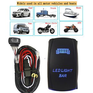 Details about 5Pin Blue LED LIGHT BAR Rocker Switch & Wiring Harness Relay  For Car Boat Motor