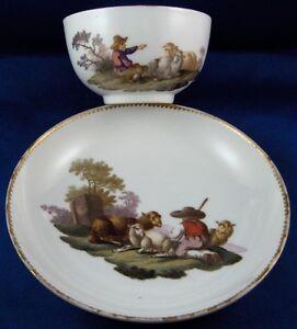 Antique 18thC Meissen Porcelain Polychrome Scenic Cup & Saucer Porzellan Tasse