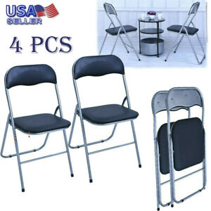 4 Pack Folding Chairs.Details About 4 Pack Folding Chair Pu Leather Upholstered Padded Seat Metal Frame Home Office