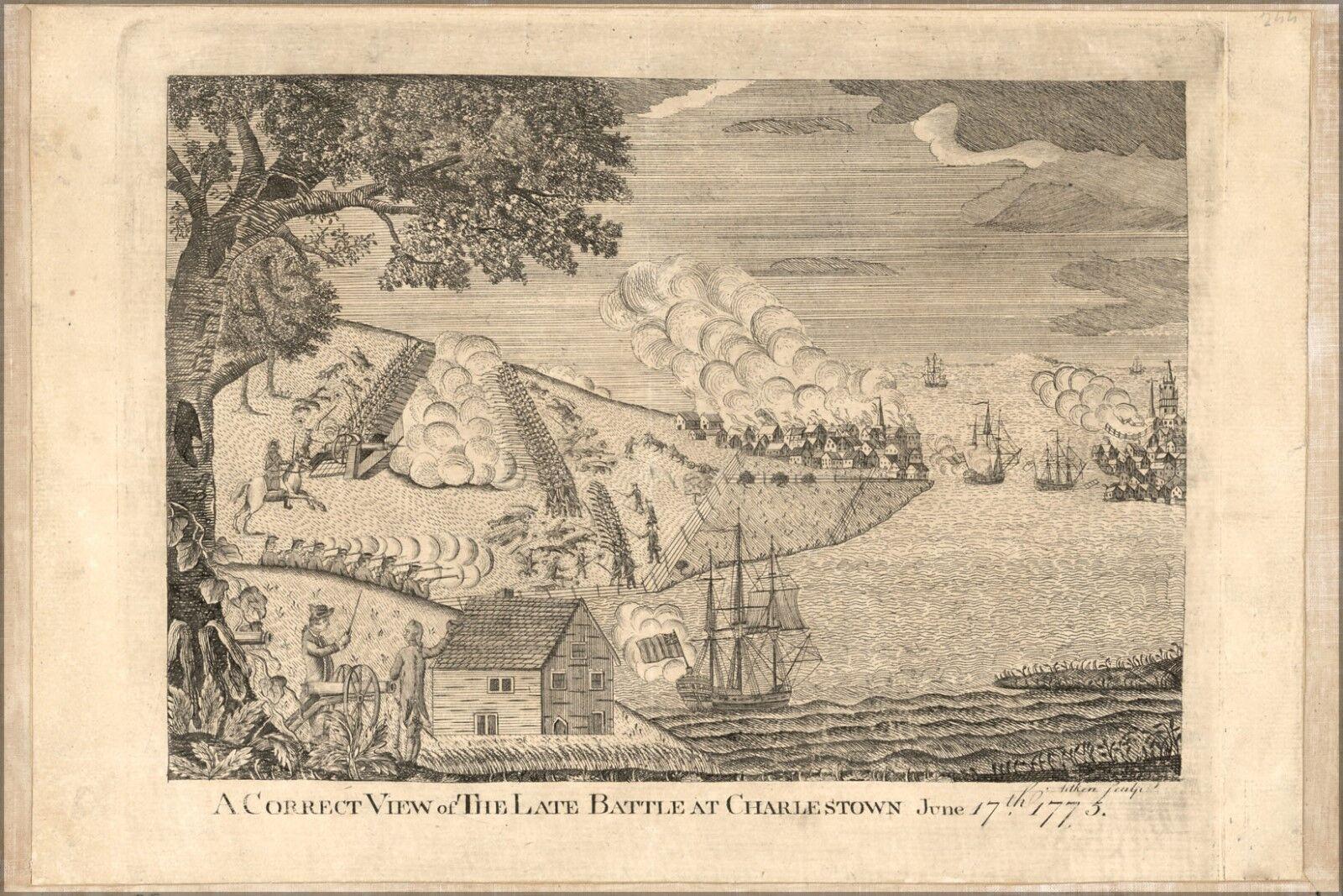 Plakat, Viele Größen; Schlacht Charlestown Boston Massachusetts 1775