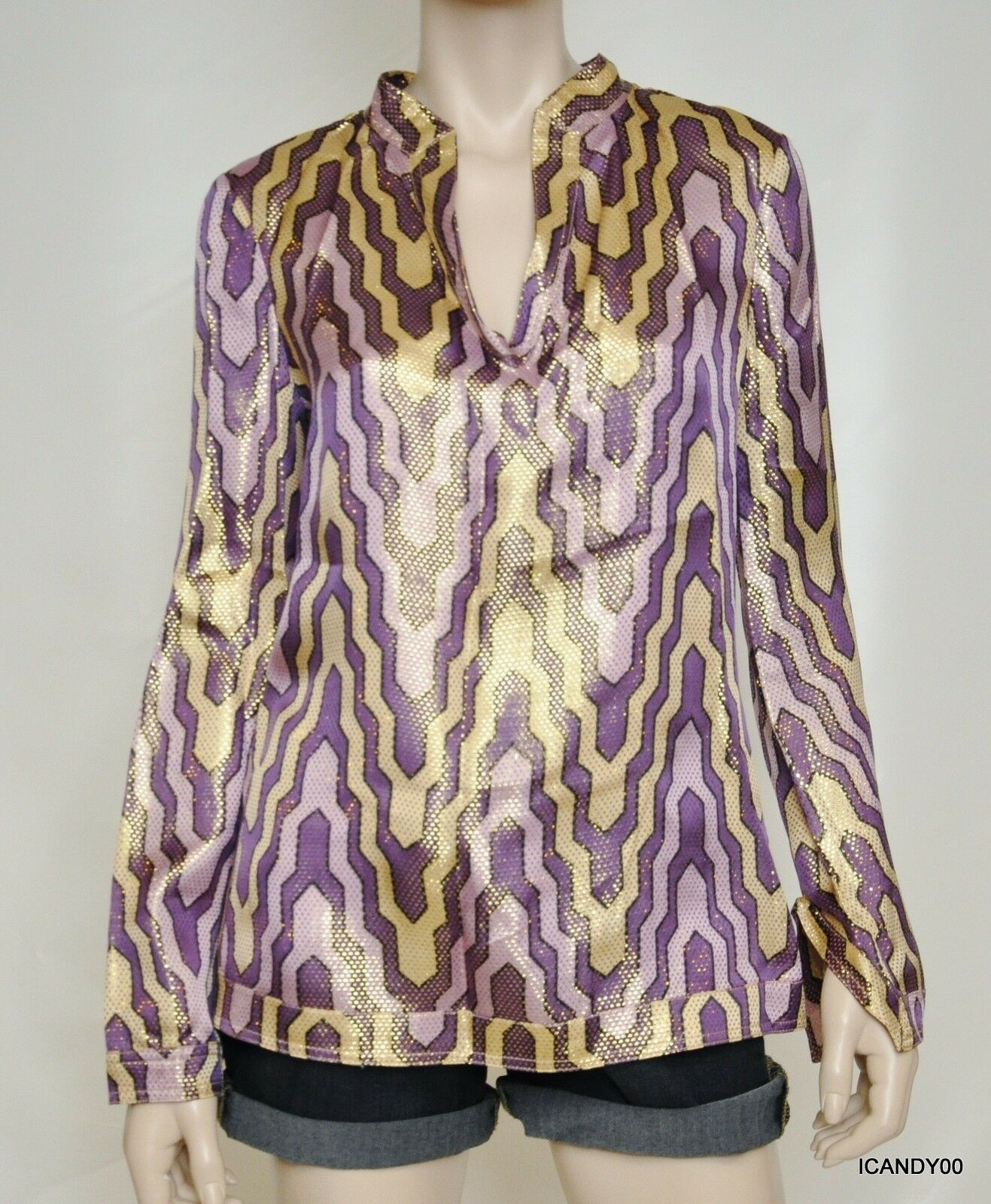 Nwt  Tory Burch STEPHANIE Silk Metallic Tunic Blouse Shirt Top lila Gold 6