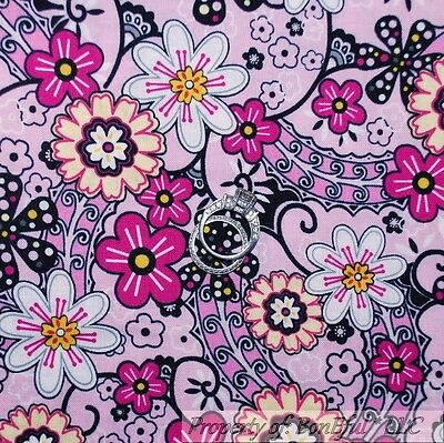 BonEful Fabric Cotton Quilt Pink Black White Yellow FLOWER B&W Dot Calico SCRAP