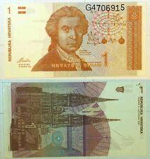 1 hrvatski dinar Croatia 1991 note UNC