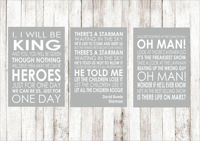 David Bowie Heroes Starman Life on Mars A4 Posters Song Lyrics Lyric All  Three