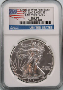 2014 American Silver Eagle NGC MS 69 Early Releases Flag Label 1 oz