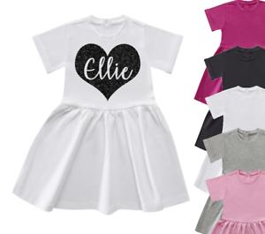 Personalised Heart Name Dress Glitter Kids Personalised Girls Summer Dress