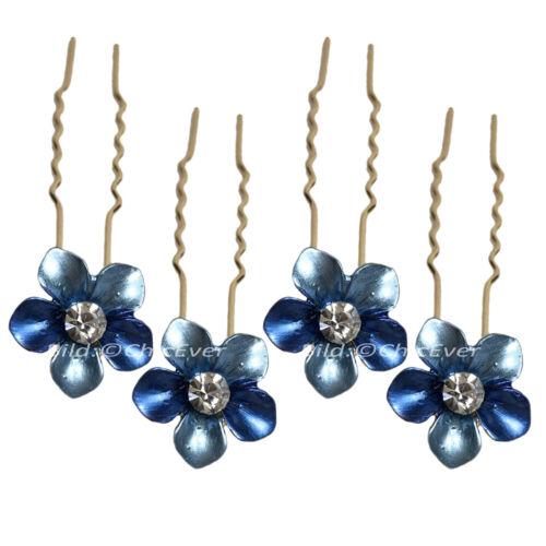 4x Haarnadeln Set Haarschmuck Metall Strass blau grün rot rosa braun gold 4999