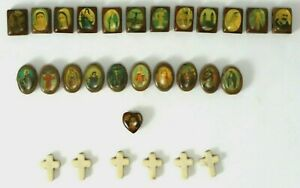 Bracelet-DIY-Wooden-Beads-Jesus-Mary-Pope-Angels-Vintage-Collectable-Religious