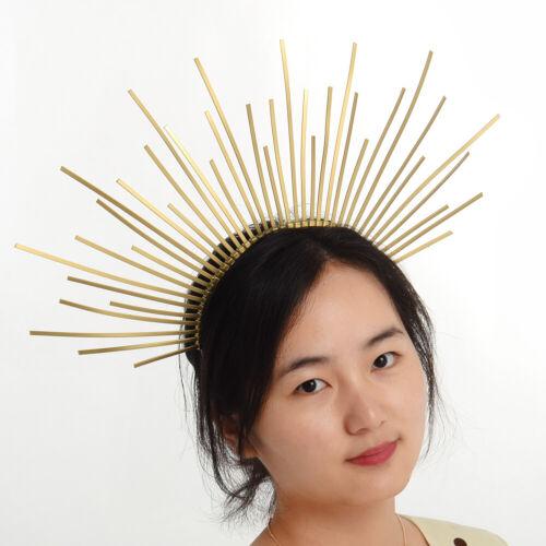 Party Gold Halo Headband Bridal Spiked Crown Wedding Headdress Costume Headpiece