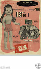 """1955 PAPER AD 4 PG Lingerie Lou Doll 18"""" Tall Mary Lu Baby Walker Moving Eyes"""