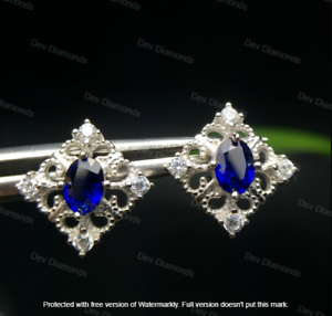 2.40Ct Oval Cut Sapphire Diamond Solitaire Stud Earrings 14K White Gold Finish