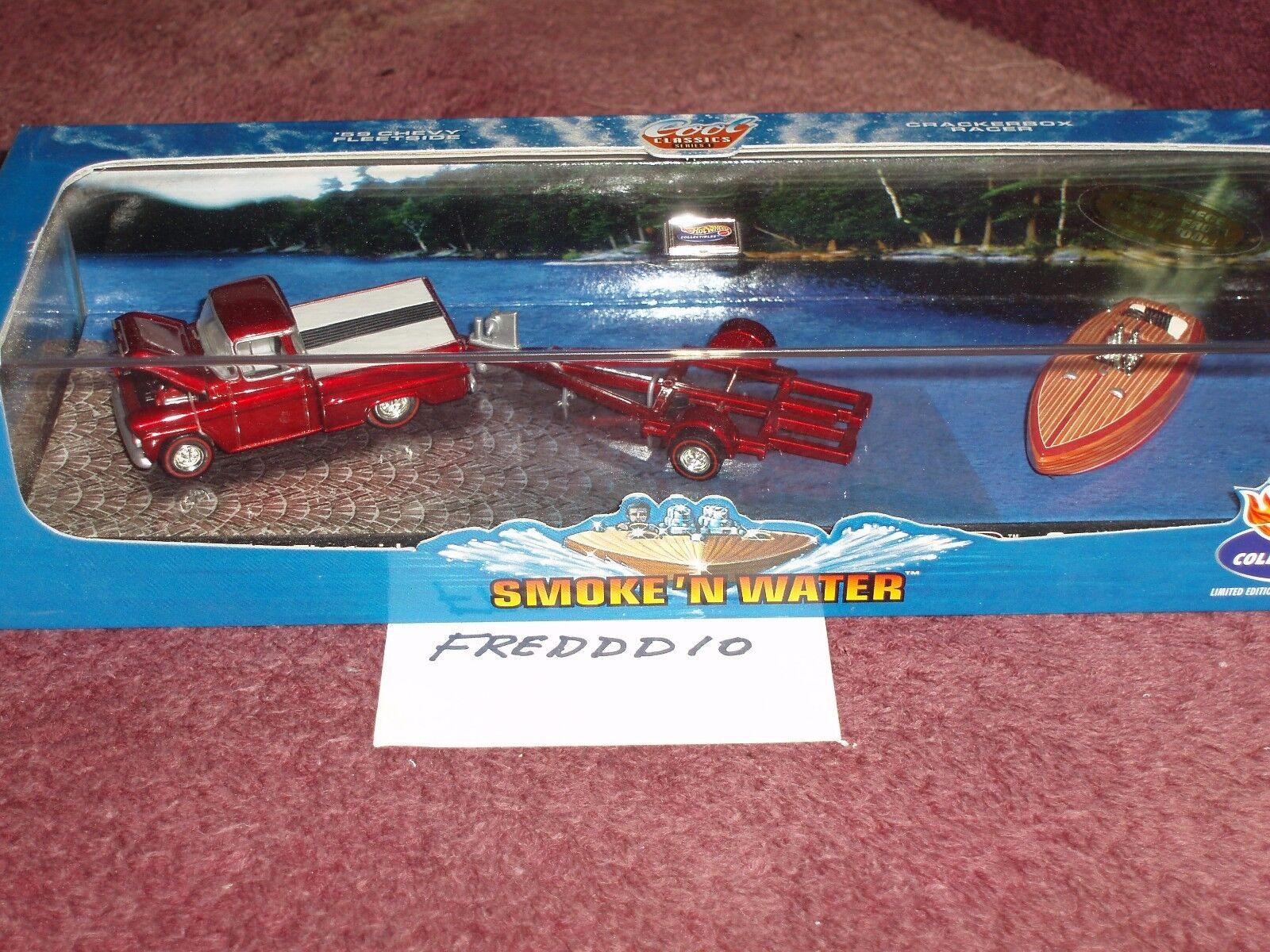 100% Hotwheels humo y agua 1959 Chevy PU, PU, PU, Remolque & crackerbox Racer Barco 05e4e2