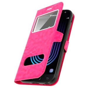 BRAND-NEW-Pink-Leather-Magnetic-Double-Window-Book-Case-Cover-for-Samsung-Galaxy