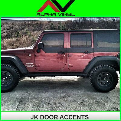 Jeep Wrangler JK Door Skins Decal Matte Black w/ install kit Fit:4 door 07-18