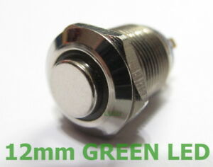 metal switch 12v momentary push button green led 12mm ebayimage is loading metal switch 12v momentary push button green led
