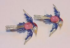 Vintage Art Deco Enamel Rhinestone Jelly Belly Swallow Bird Pin Brooch Lot Set