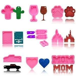 Ribbon Heart Resin Casting Silicone Keychain Mold Epoxy Pendant Jewelry DIY Gift