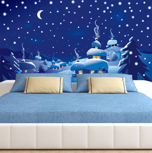 3D Snowing Village View 3041 Wallpaper Decal Dercor Home Kids Nursery Mural Home