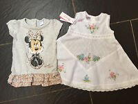 Monsoon White Floral Embroidered Dress & Disney Minnie Mouse Grey Dress 3-6 M