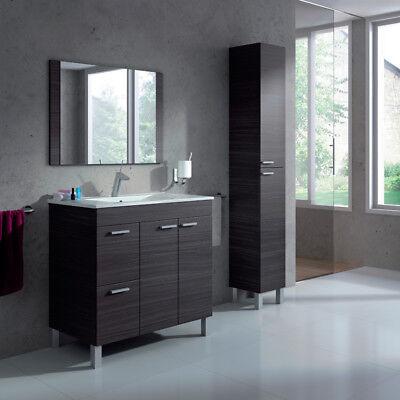 Pack Mueble baño o aseo con Espejo Lavamanos PMMA y Columna gris ceniza