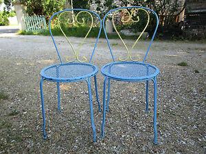 2 Chaises Jardin Fer Ancienne Peinture Bicolore Ebay