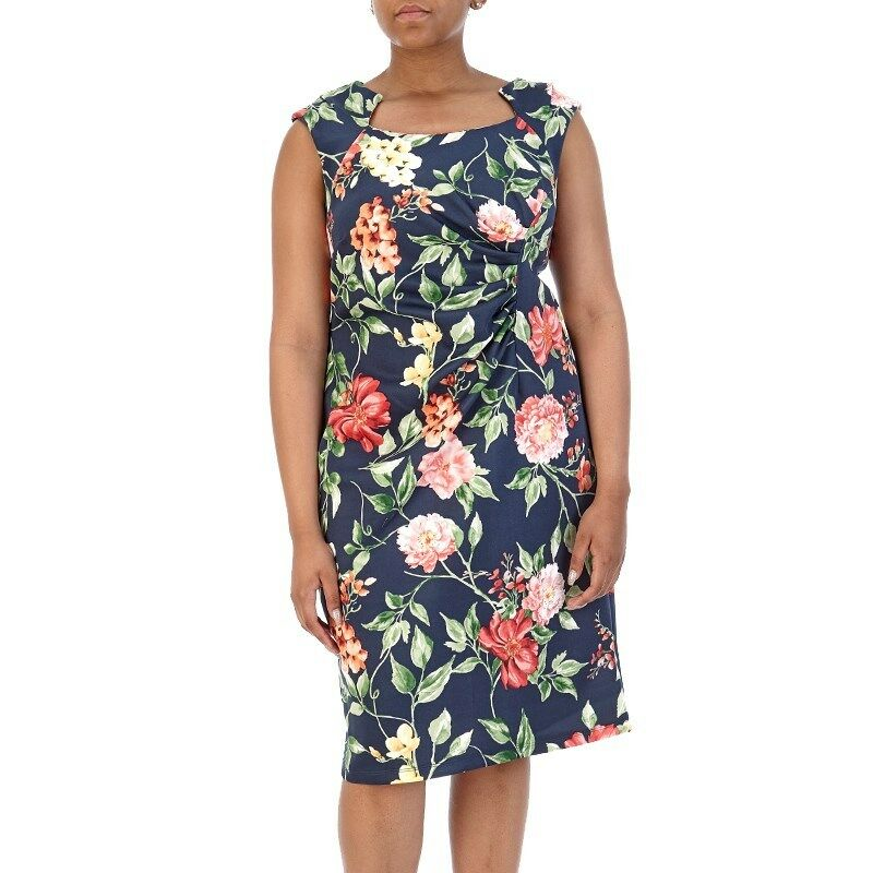 NEW SHELBY & PALMER   Ruched Front Floral Dress Plus Größe 22 W