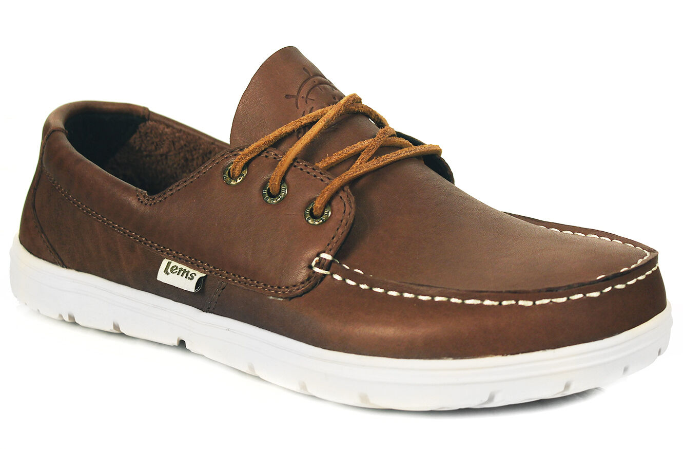 Lems Mariner Deck Schuhe Zero Drop Barefoot Comfort Full Grain Leder Tan /Walnut