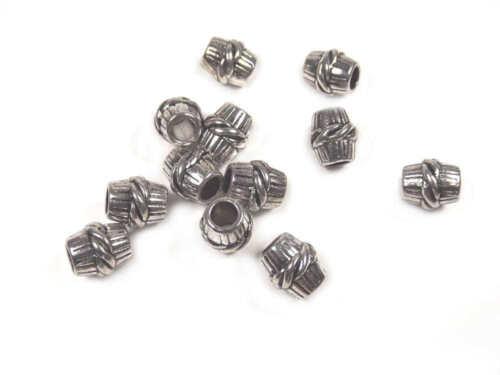 10 Perles Intercalaires Tube 11mm x 10mm en métal argenté