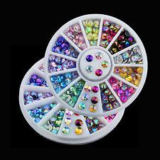 WOW 12 Color 3D Nail Art Tips Gems Crystal Glitter Rhinestone DIY Decoration
