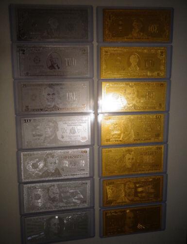 SILVER DOLLAR BILL SET EACH IN PVC BILL HOLDER. $1-2-5-10-20-50-100 14 GOLD