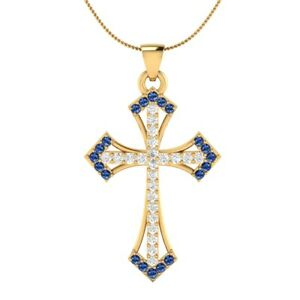 0-55-Ct-Blue-and-White-Sapphire-Cross-Pendant-18-034-Necklace-18k-Yellow-Gold-Over