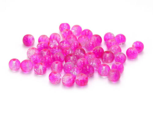 50 crackleglasperlen en rose et blanc 6 MM
