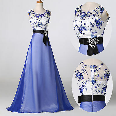 1950s Vintage Long Evening Formal Party Ball Gown Prom Bridesmaid Dresses Blue